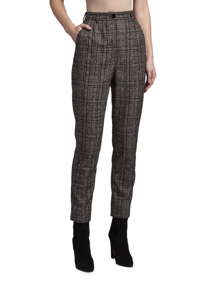 Dolce & Gabbana Straight-Leg Plaid Suiting Ankle Trousers