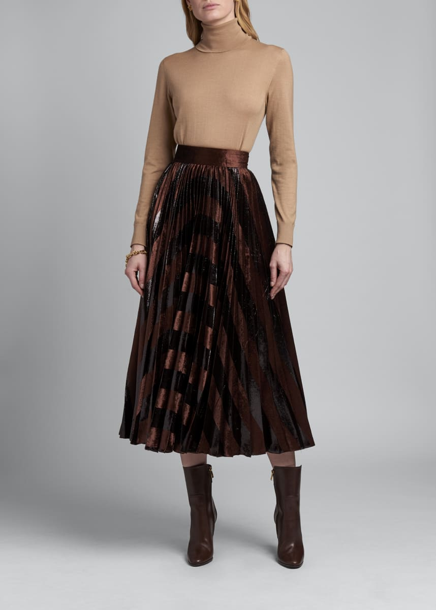 Dolce & Gabbana Pleated Metallic Velvet Midi Skirt