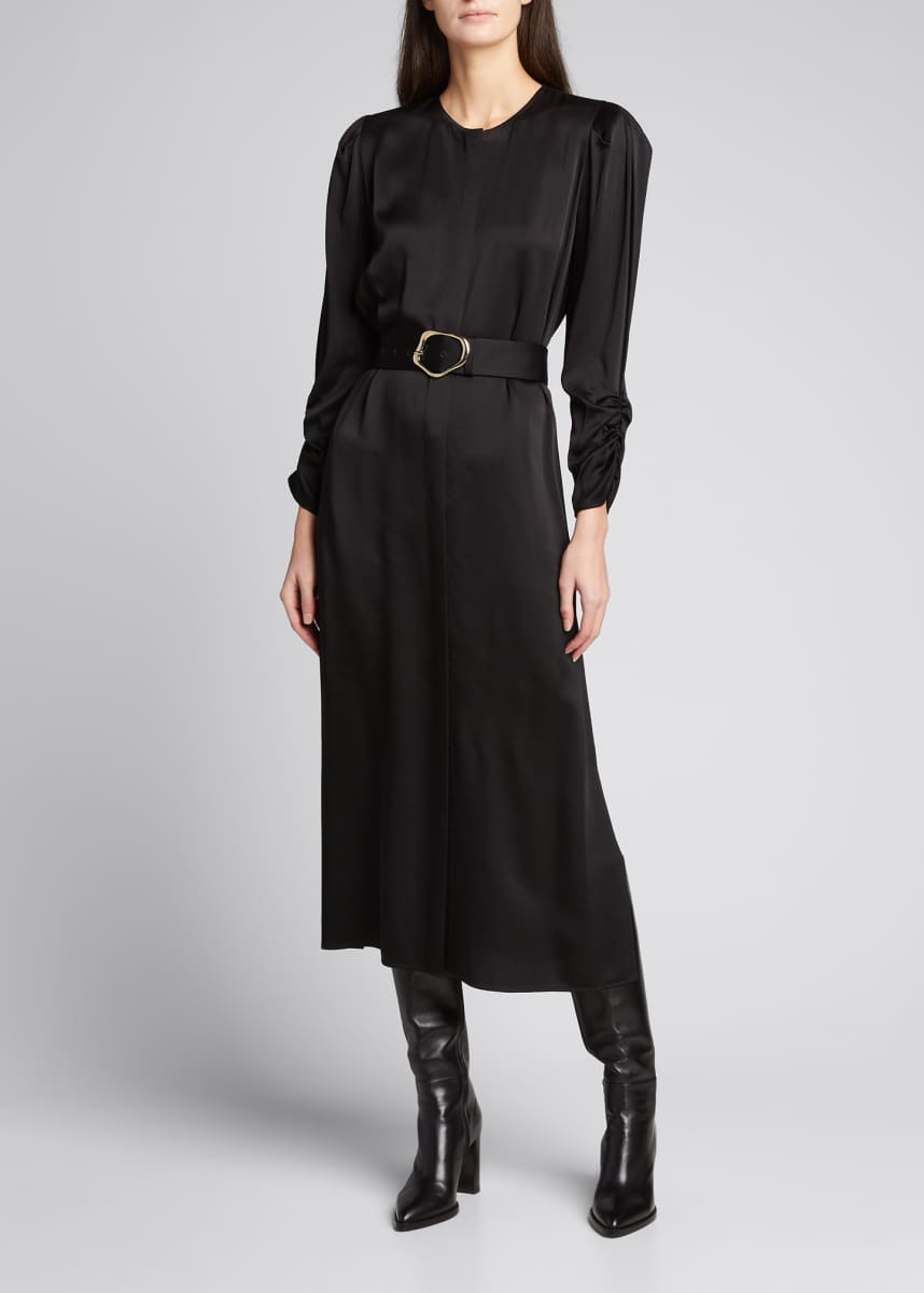Lafayette 148 New York Neilson Pebbled Satin Dress with Self-Belt