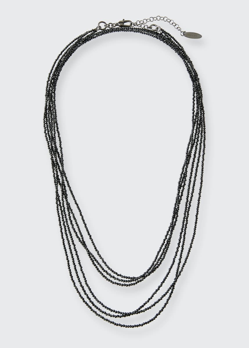 Brunello Cucinelli Black Spinel Multi-Strand Necklace