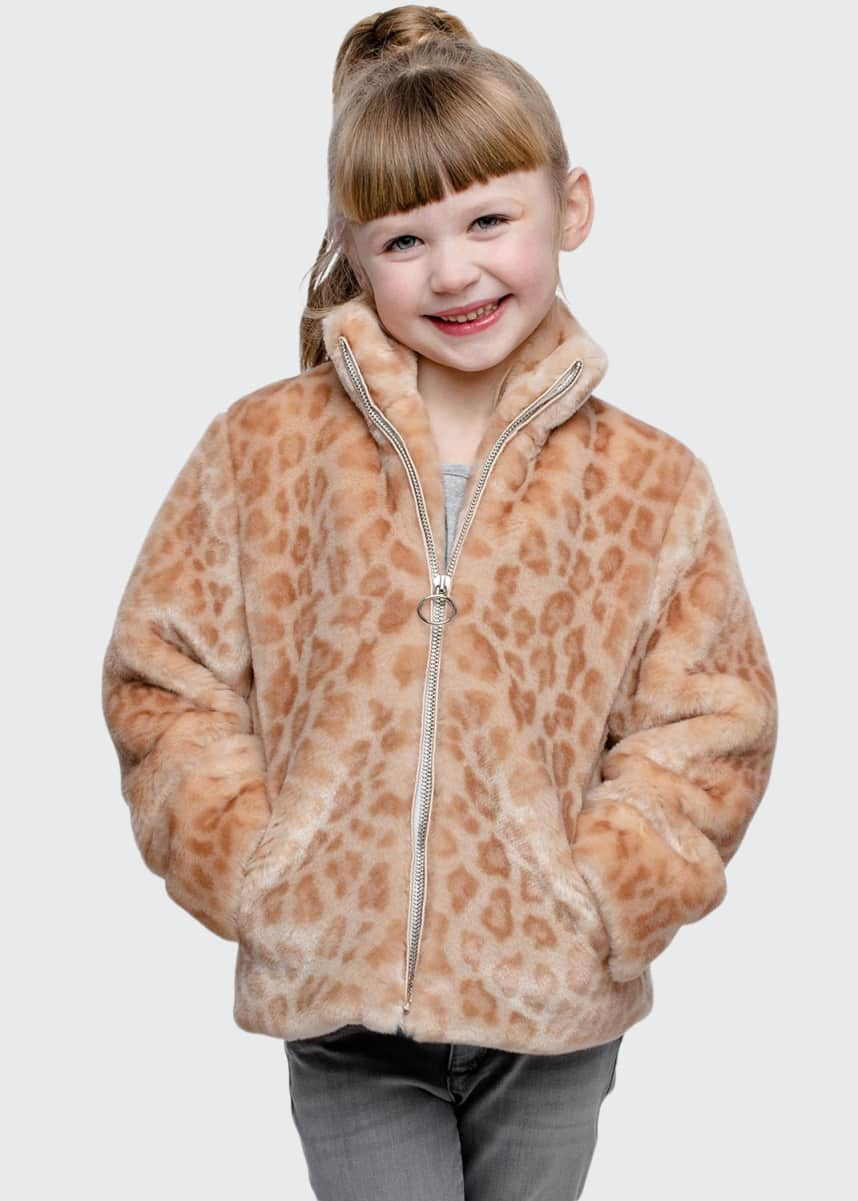 Fabulous Furs Girl's Every Day Leopard Faux Fur Jacket, Size XXS-L