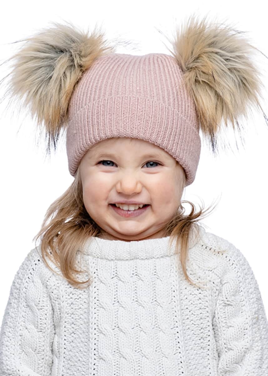 Fabulous Furs Kid's Double Pom Knit Beanie