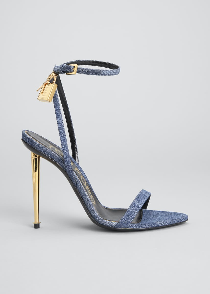 TOM FORD 105mm Denim Lock & Key Stiletto Sandals