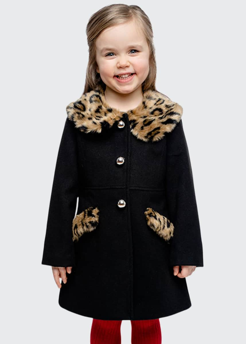 Fabulous Furs Girl's Little Lady Faux-Fur Leopard-Print Trim Coat, Size XXS-L
