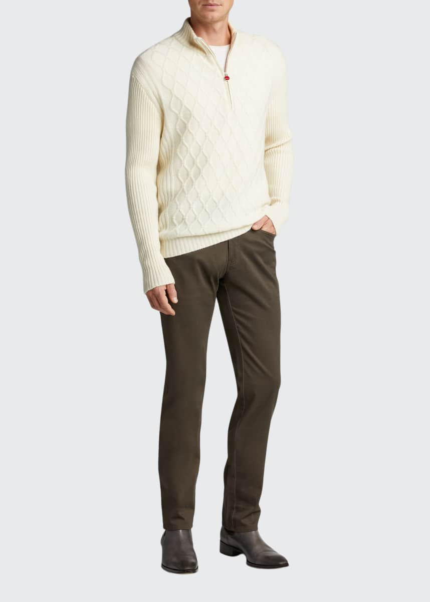 Kiton Men's Quilted Cashmere Quarter-Zip Sweater