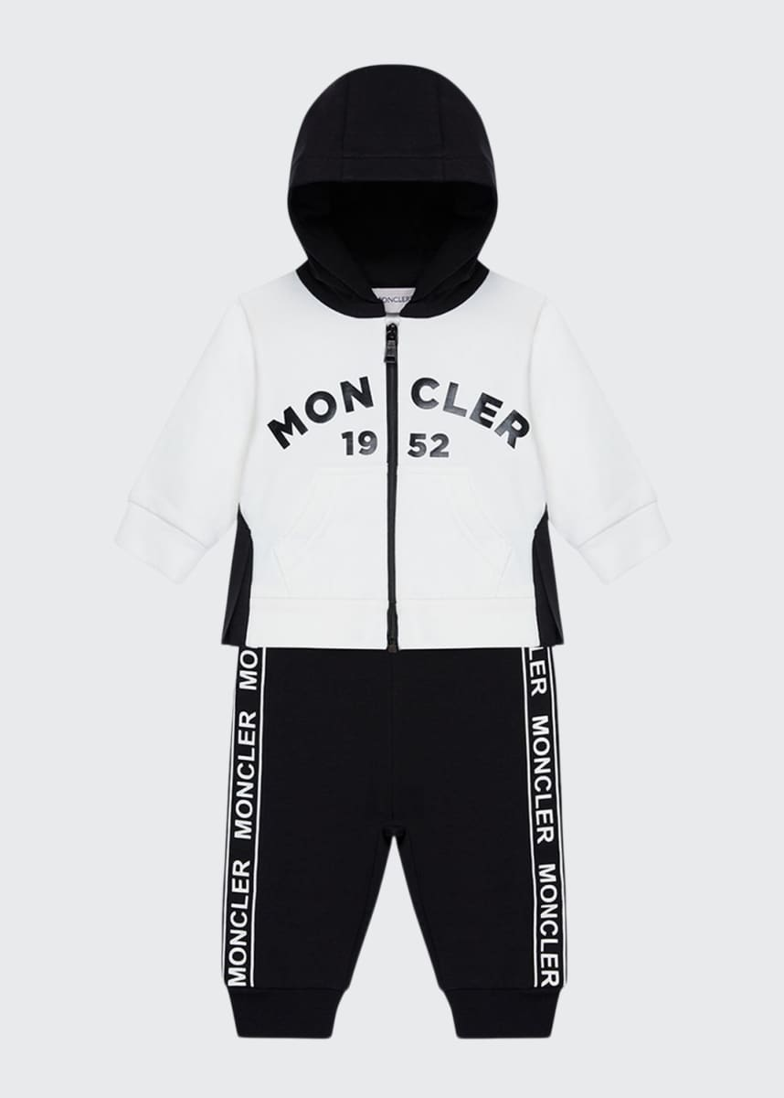 Moncler Fleece Two-Piece Jogging Set w/ Logo Taping, Size 12M-3