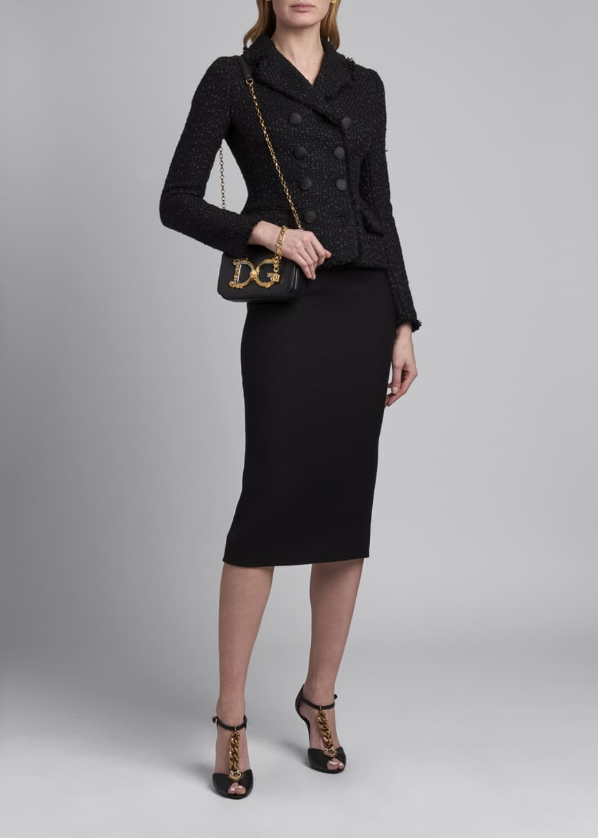 Dolce & Gabbana Tweed Double-Breasted Peplum Blazer