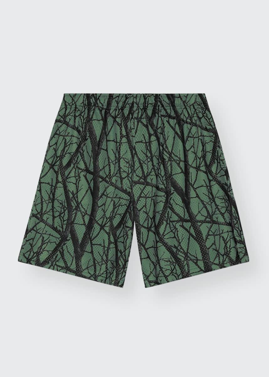John Elliott Men's Mesh Camo Tree-Print Shorts