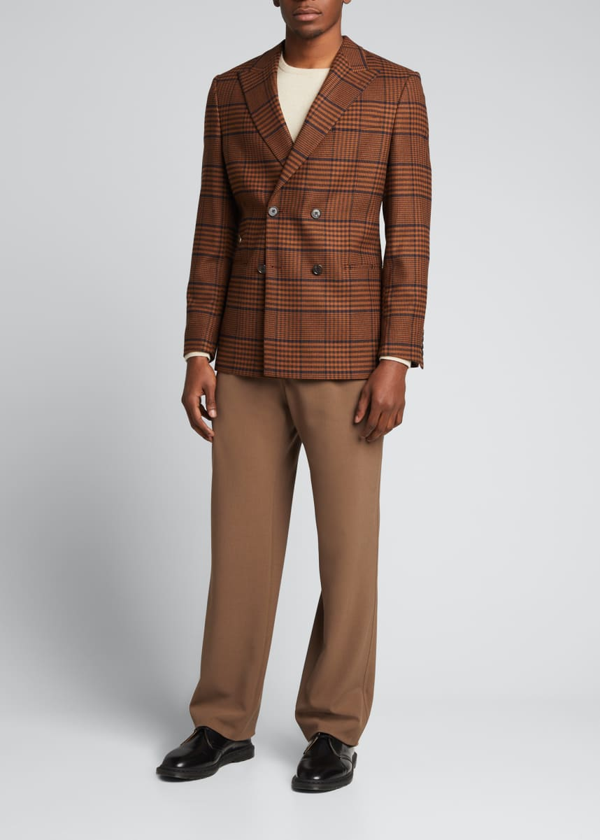 Nanushka Men's Brown Wool Poly Vintage Check Double Breasted Sportcoat