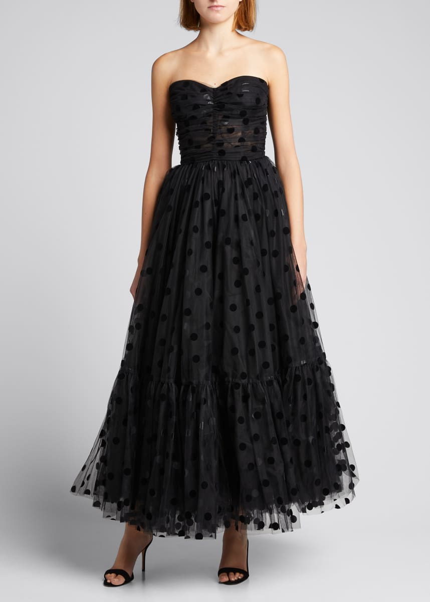 Dolce & Gabbana Flocked Polka-Dot Tulle Strapless Dress