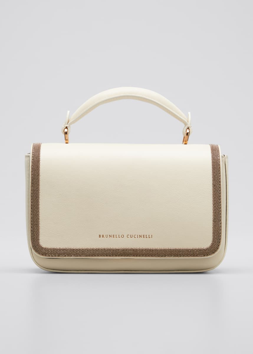 Brunello Cucinelli Monili Leather Top-Handle Bag
