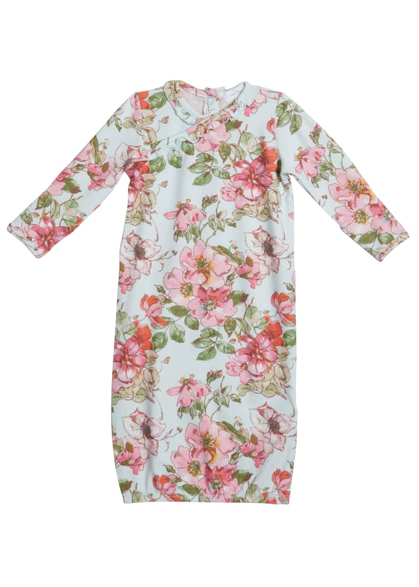 Angel Dear Girl's Woodrose Floral-Print Long-Sleeve Gown, Size 0-3M