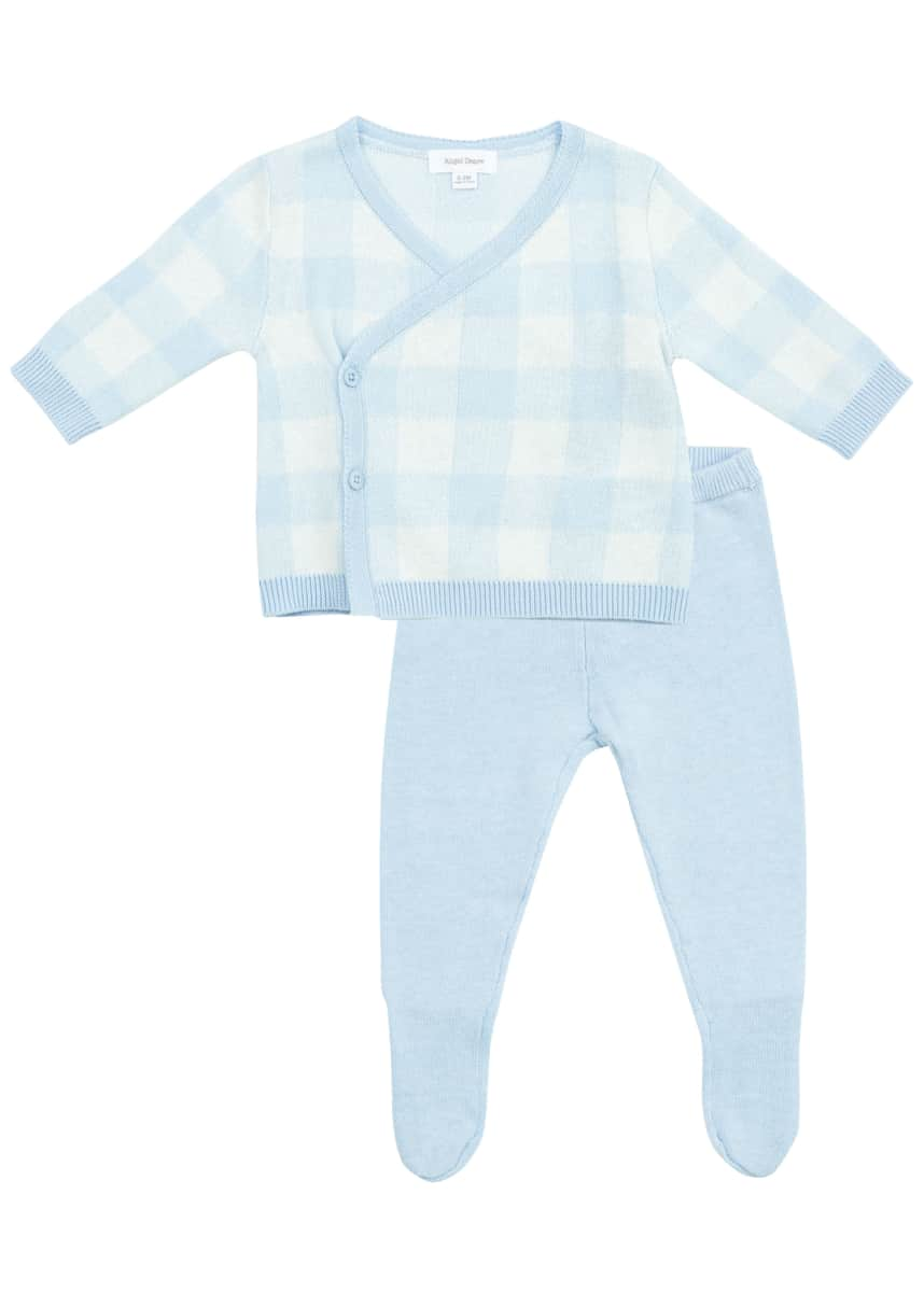 Angel Dear Take Me Home Gingham Cardigan w/ Footed Leggings, Size Newborn-3M