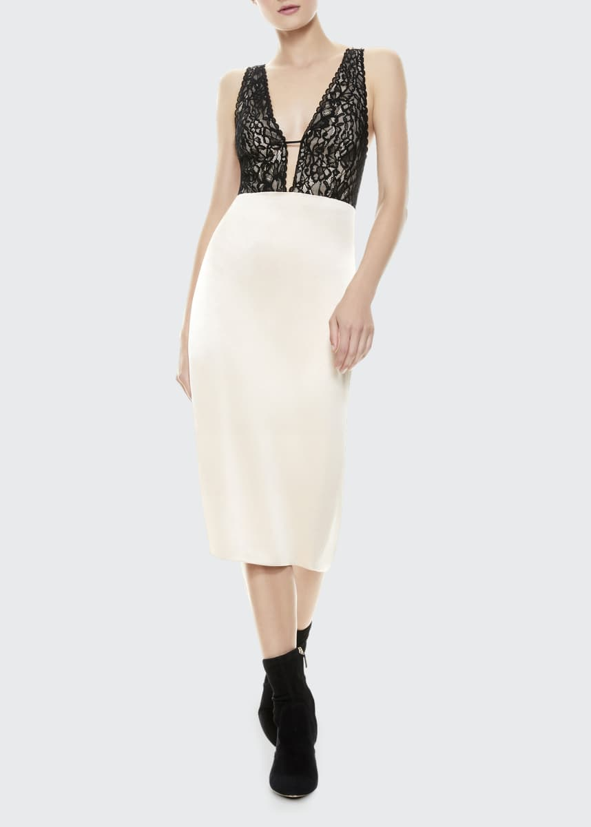 Alice + Olivia Vanita Lace Combo Fitted Midi Dress