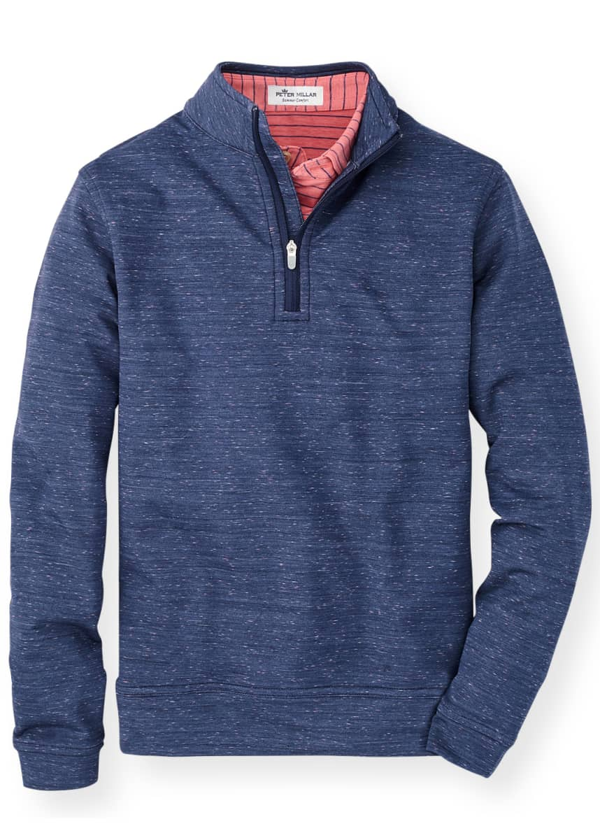 Peter Millar Boy's Perth Space Dye Performance Quarter-Zip Pullover, Size XXS-XL