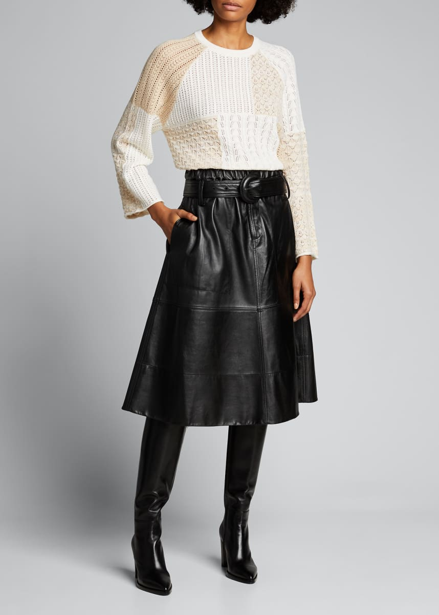 Alice + Olivia Martha Patchwork Bell-Sleeve Pullover