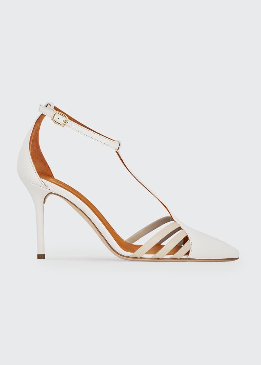 Malone Souliers Ila 85mm Leather T-Strap Pumps