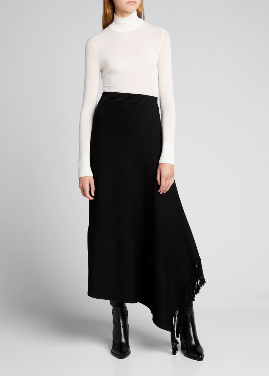 Jonathan Simkhai Grace Draped Fringe Skirt