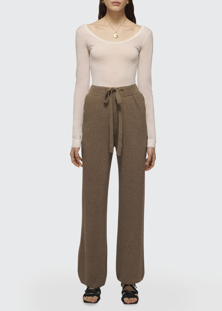 Nanushka Oni Wide-Leg Rib Knit Drawstring Pants