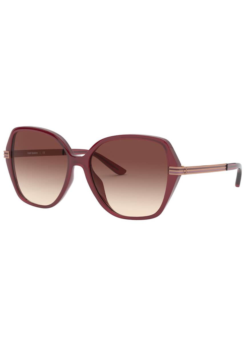 Tory Burch Round Gradient Sunglasses w/ Striped Arms