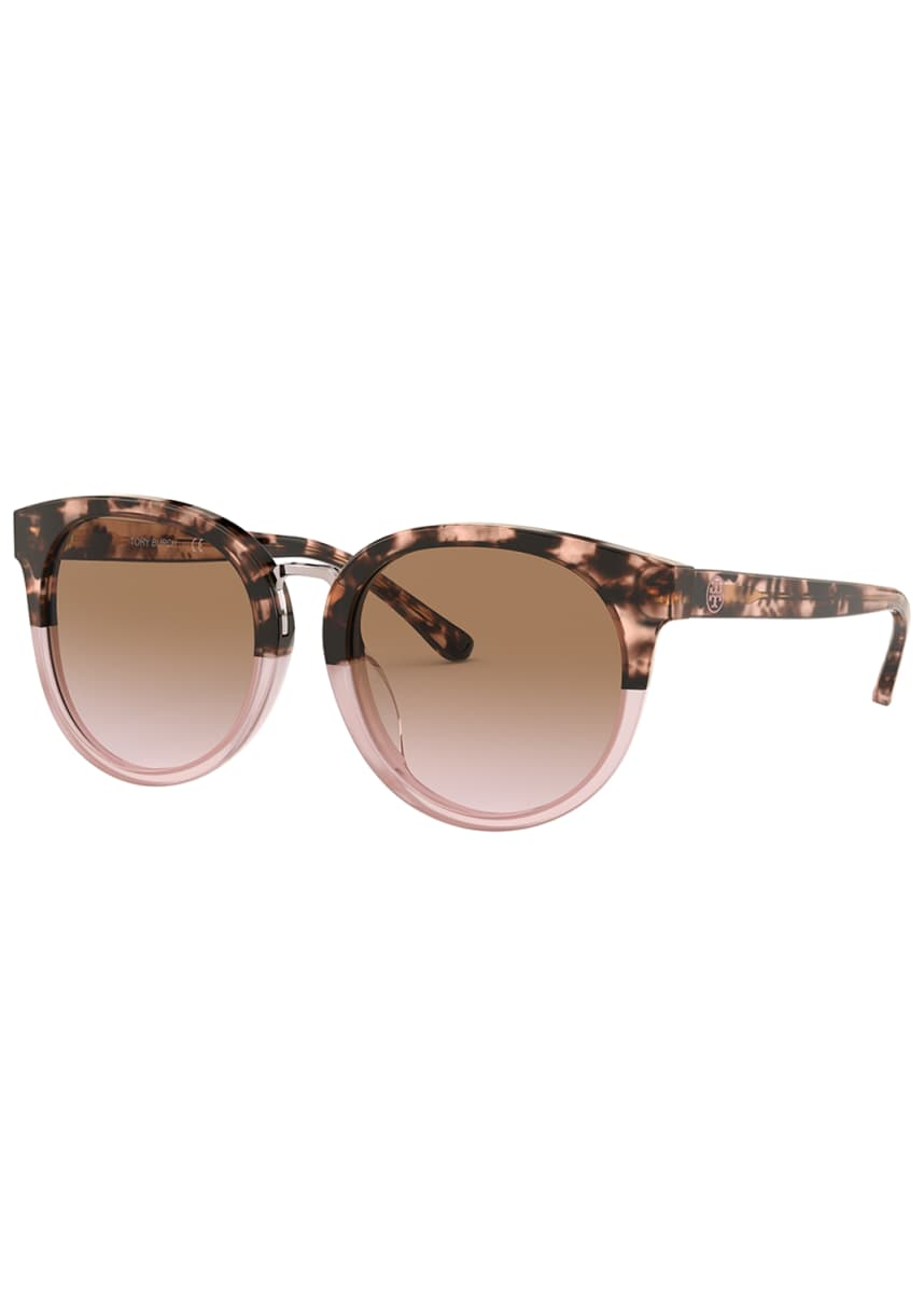 Tory Burch Two-Tone Acetate Round Sunglasses