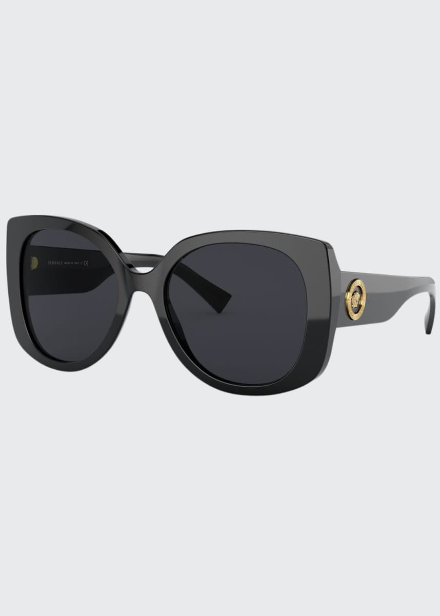 Versace Rectangle Acetate Sunglasses w/ Medusa Temples