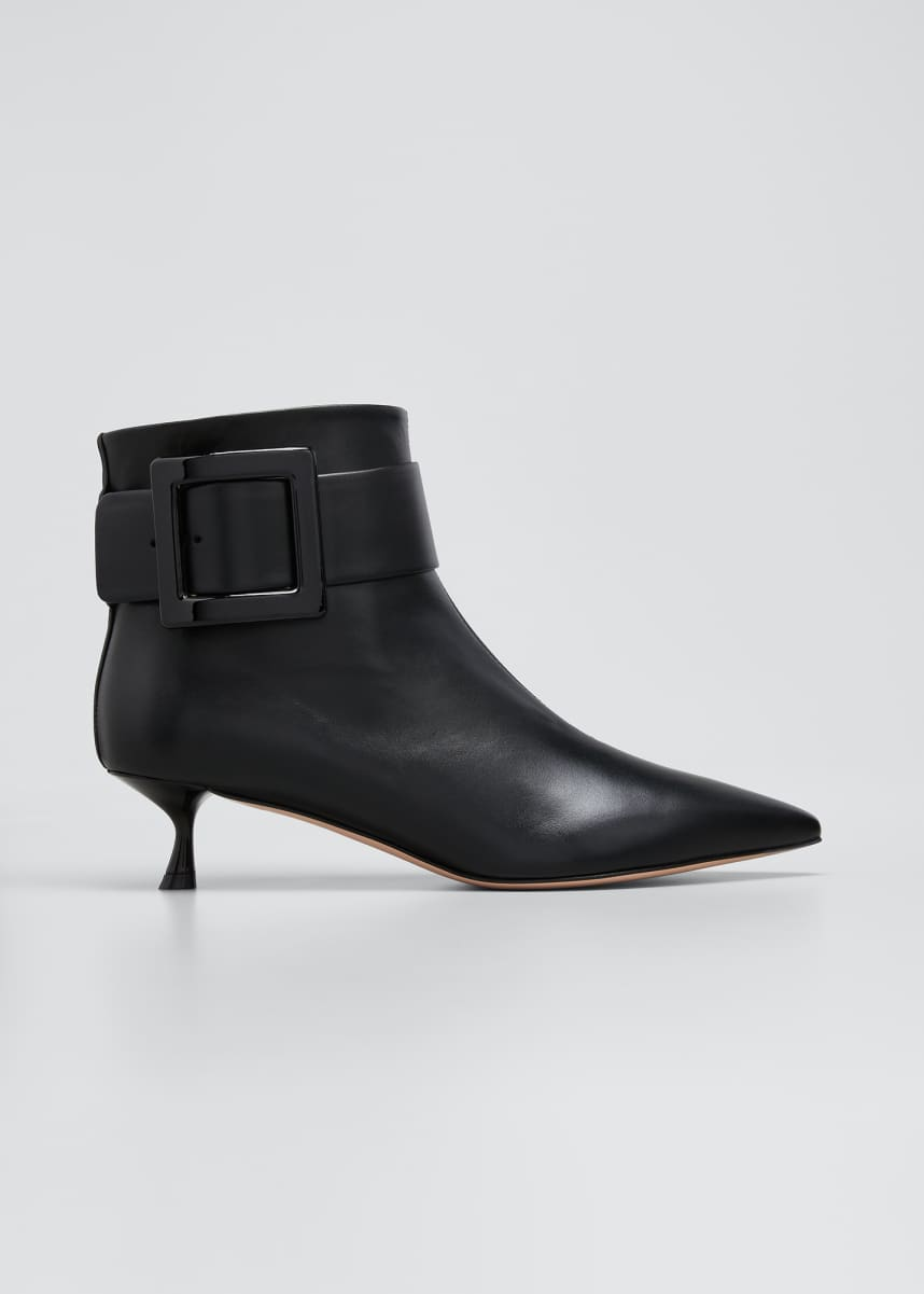 Roger Vivier 45mm Leather Buckle Ankle Booties
