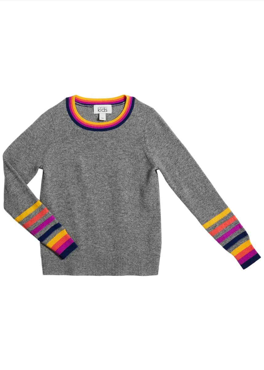 Autumn Cashmere Girl's Striped-Trim Wool-Cashmere Sweater, Size 8-16