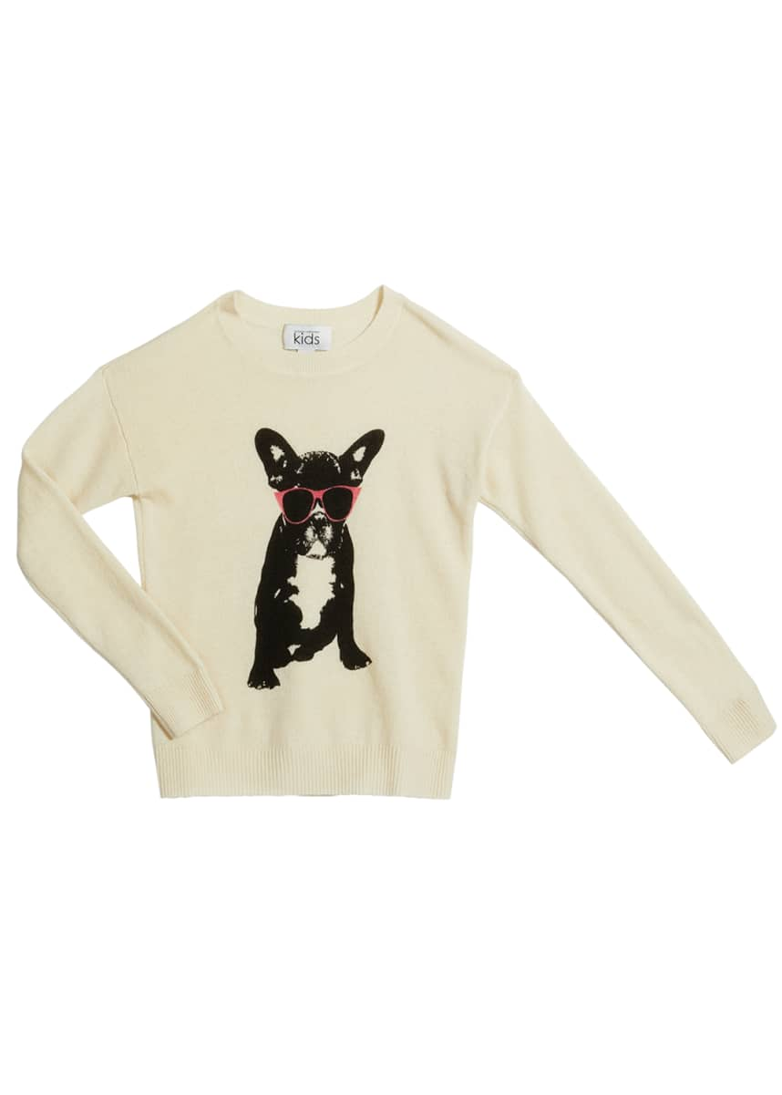 Autumn Cashmere Girl's Glasses Dog Printed Wool-Cashmere Sweater, Size 4-16
