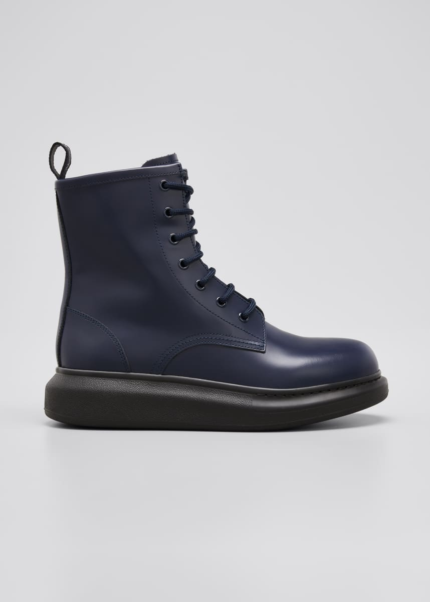 Alexander McQueen Sleek Leather Combat Booties
