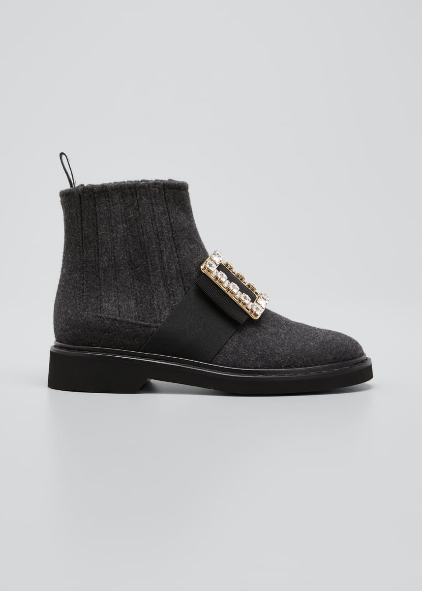 Roger Vivier Vivi Rangers Chelsea Booties with Crystal Buckle