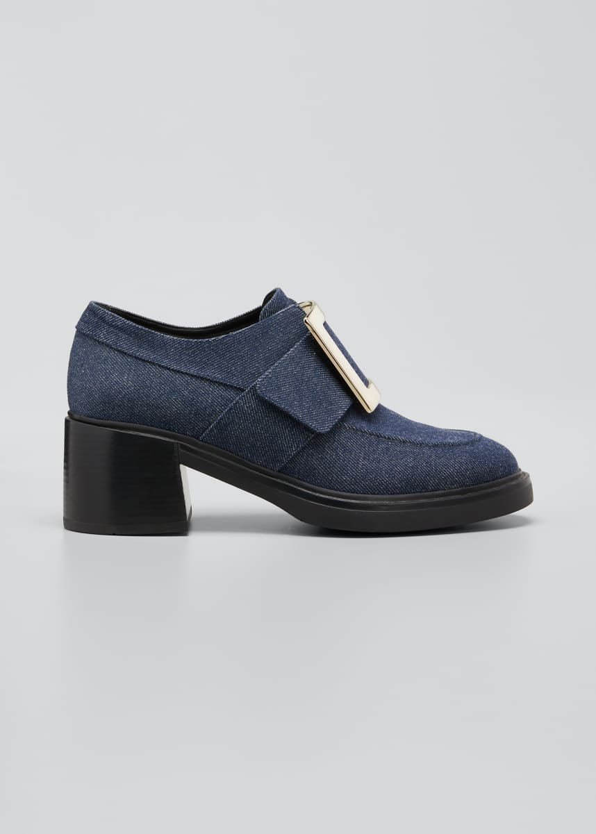 Roger Vivier Viv Rangers Denim Loafers with Buckle