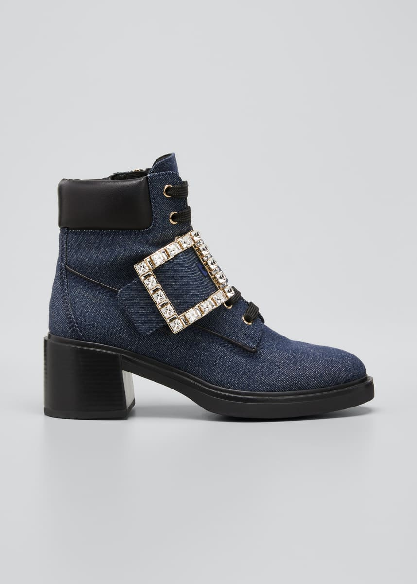Roger Vivier Viv Rangers Denim Buckle Booties