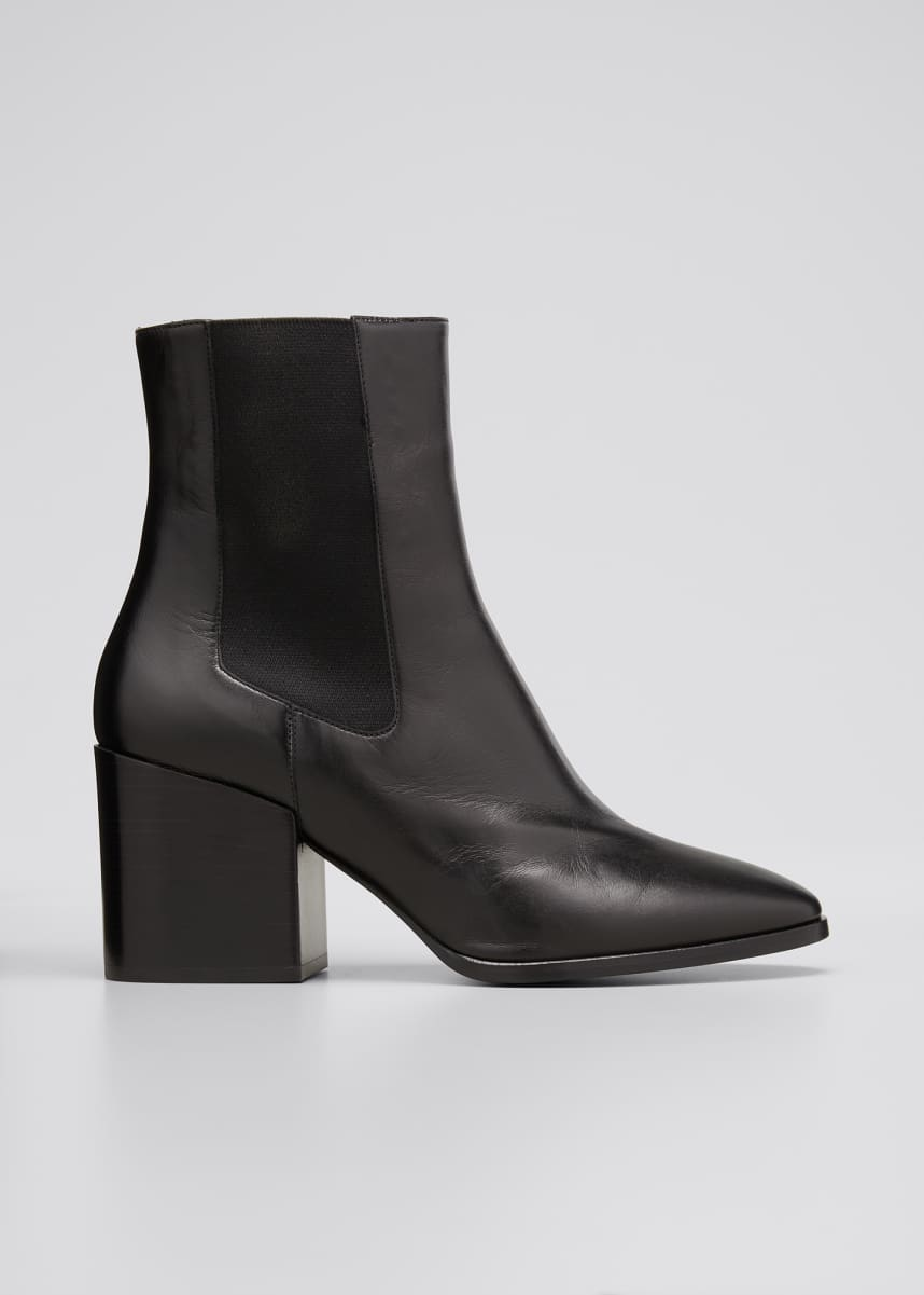 Dries Van Noten 70mm Gored Leather Ankle Booties