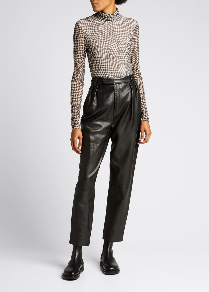 Ganni Floral Printed Long-Sleeve Mesh Turtleneck Top