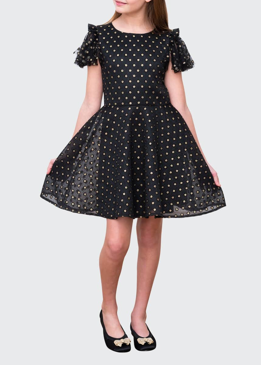 David Charles Dotted Skater Dress w/ Netting