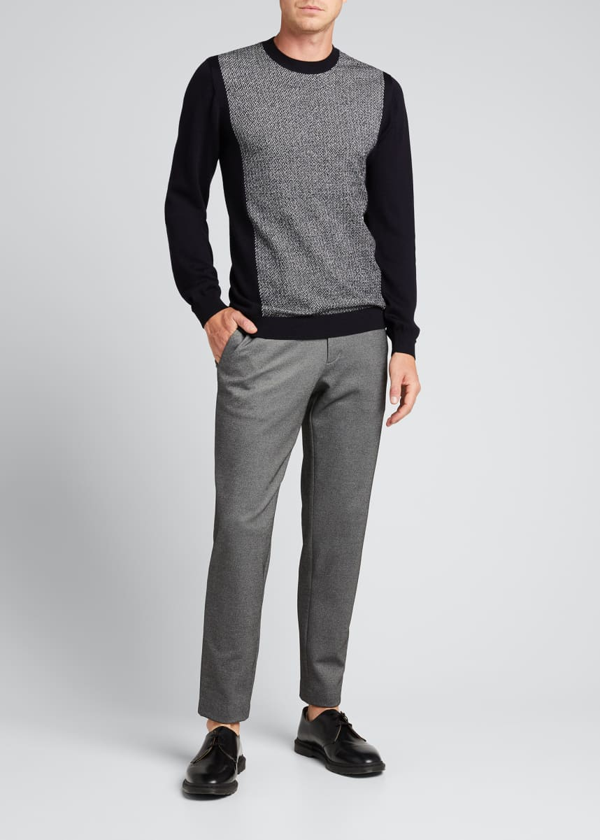 Emporio Armani Men's Chevron/Solid Wool Sweater