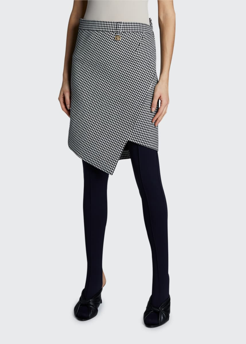 Balenciaga Houndstooth Twisted Wool Mini Skirt