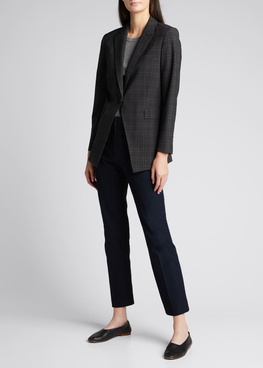 Theory Etiennette Wool Blazer in Plaid