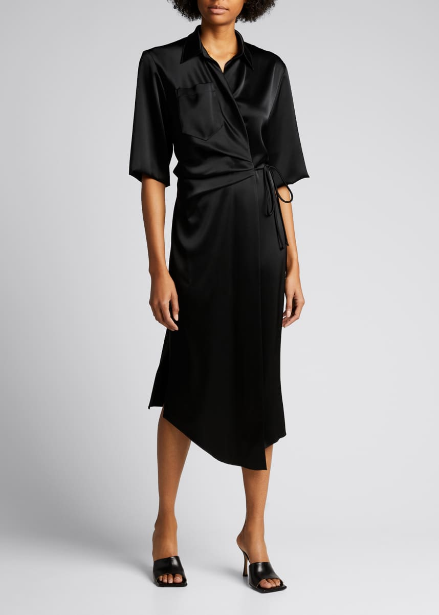 Nanushka Lais Half-Sleeve Satin Midi Wrap Dress