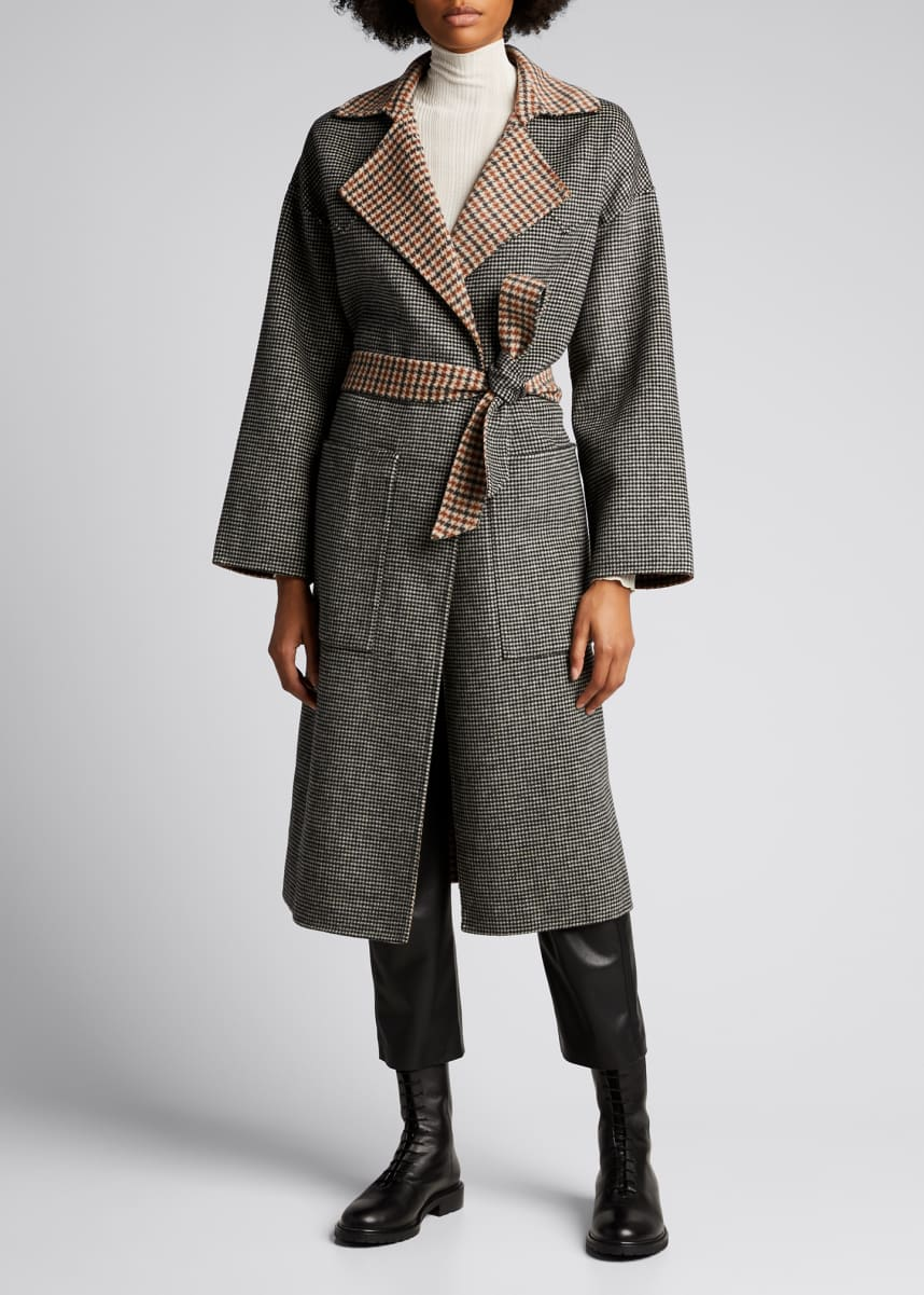Nanushka Alamo Wool-Silk Reversible Self-Tie Coat