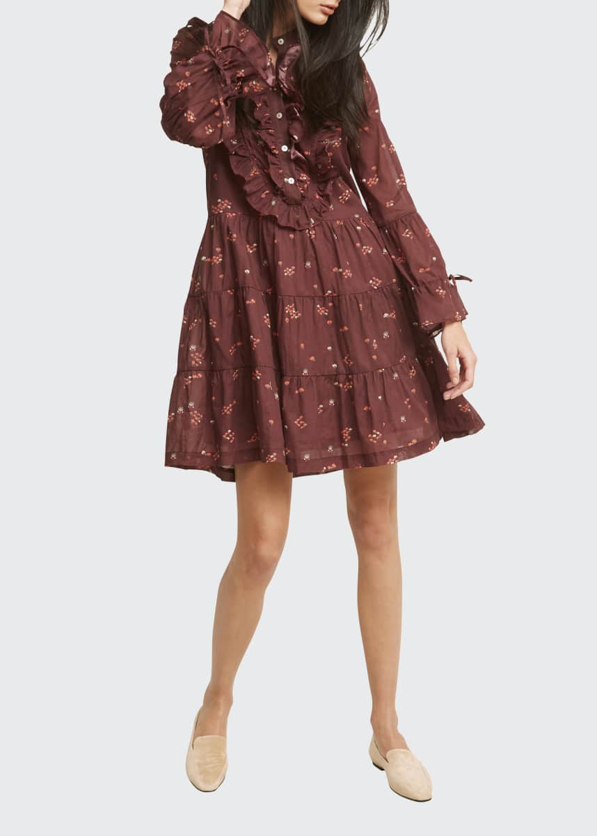 Warm Tiered Ruffle-Placket Floral Dress
