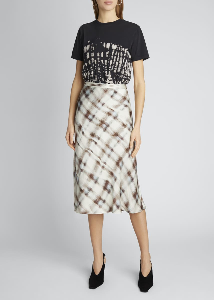 Proenza Schouler White Label Hammered Charmeuse Midi Skirt