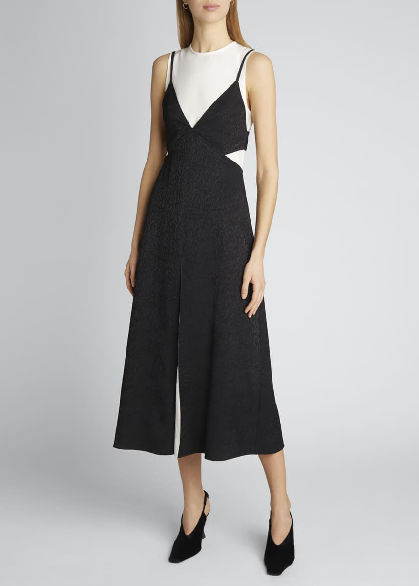 Proenza Schouler White Label Animal Jacquard Layered Sleeveless Dress