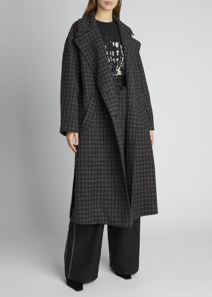 Proenza Schouler White Label Long Plaid Double-Breasted Coat