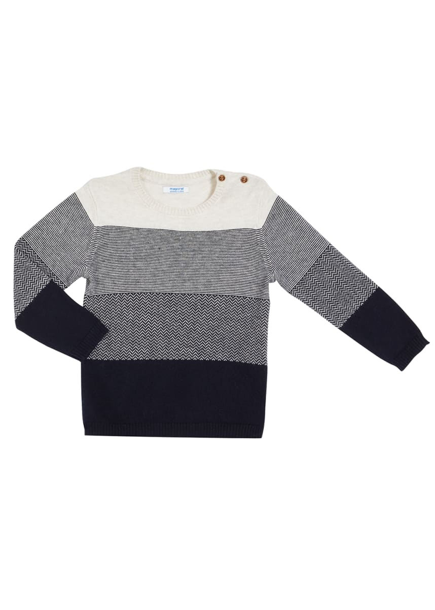 Mayoral Boy's Mixed-Print Knit Long-Sleeve Sweater, Size 12-36M