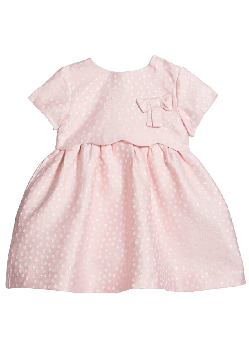 Mayoral Girl's Polka Dot Bow Satin A-Line Dress, Size 6-36M