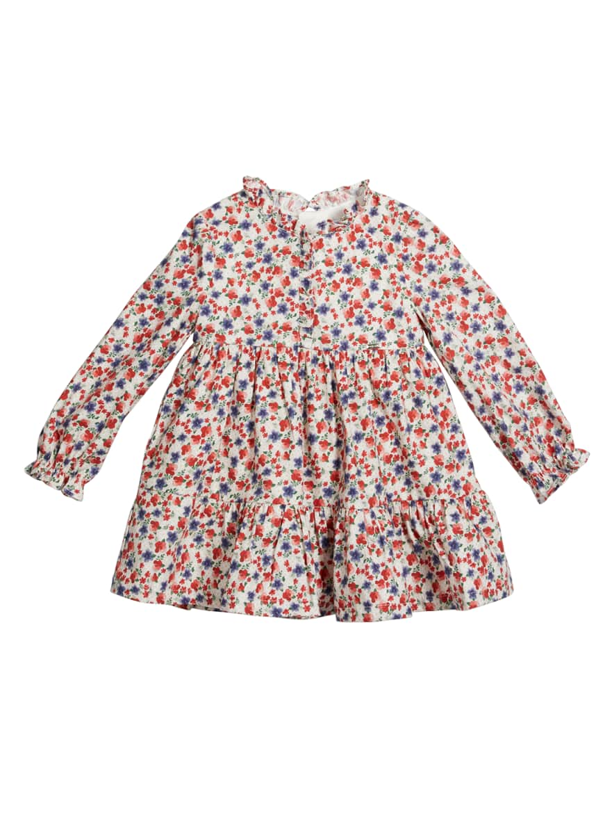 Mayoral Girl's Floral Long-Sleeve Tiered Ruffle Dress, Size 6-36M