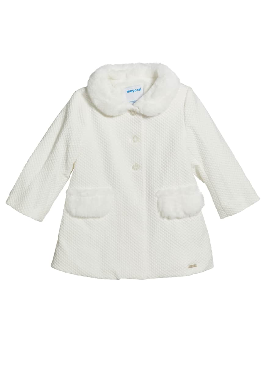 Mayoral Girl's Three-Button Dress Coat w/ Faux-Fur, Size 6-36M