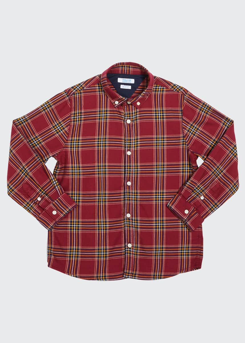 Mayoral Boy's Check Button-Down Shirt, Size 4-7
